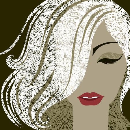 メイクアップと金髪の長い髪を持つ女性の肖像画を装飾的なクローズ アップ