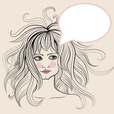 amative: decorative portrait of woman with make-up and long hair Illustration