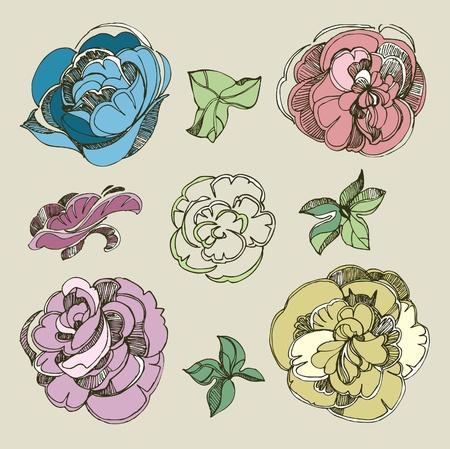 brie: Set van floral design elementen - rose bloemen