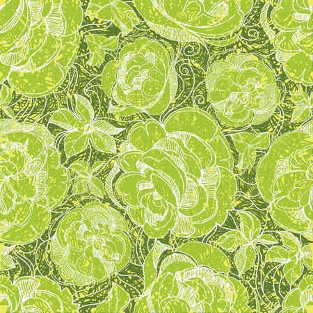 herbary: seamless floral pattern with freehand sketch of roses