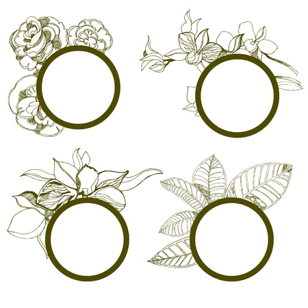 set of round vintage frames with flowers Stock Vector - 14574192