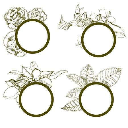 fall leaves border: set of round vintage frames with flowers Illustration