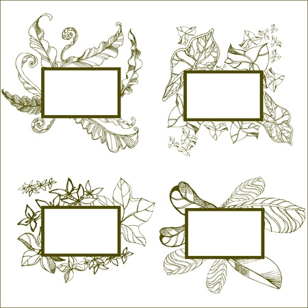 set of round vintage frames with flowers Vector