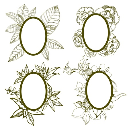 fall leaves border: Vector set of round vintage frames with flowers