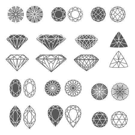set of diamond design elements - cutting samples