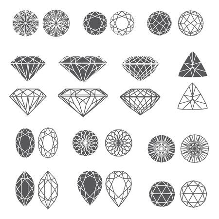 edelstenen: set van diamant ontwerp elementen - het snijden van monsters