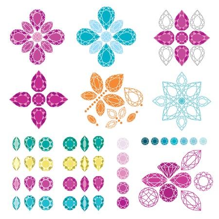 set of diamond design elements - cutting samples