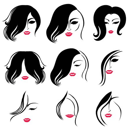 set of hair styling for woman with red lips