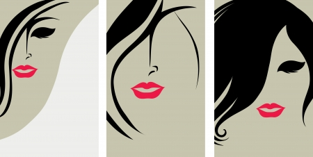 set of backgrounds with hair styling for woman with red lips Vector