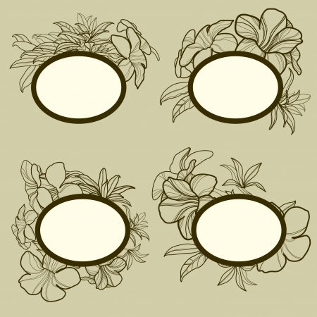 set of round vintage frames with flowers Stock Vector - 15267982