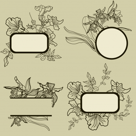 set of round vintage frames with flowers Stock Vector - 15267992
