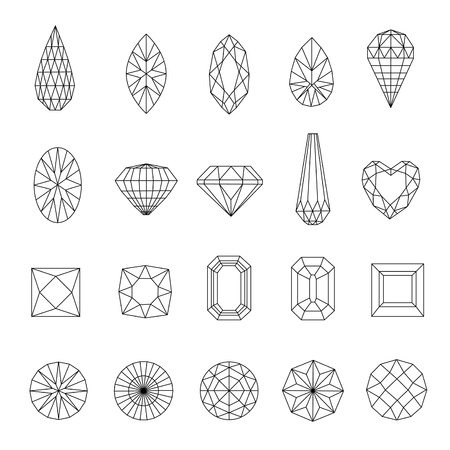 gemstone: Vector set of diamond design elements - cutting samples Illustration
