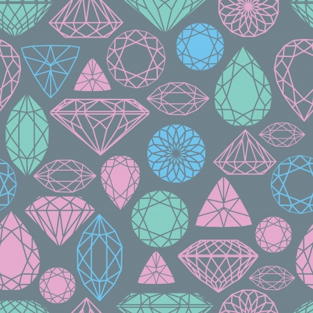 diamond pattern: Vector seamless pattern flowers from diamond design elements