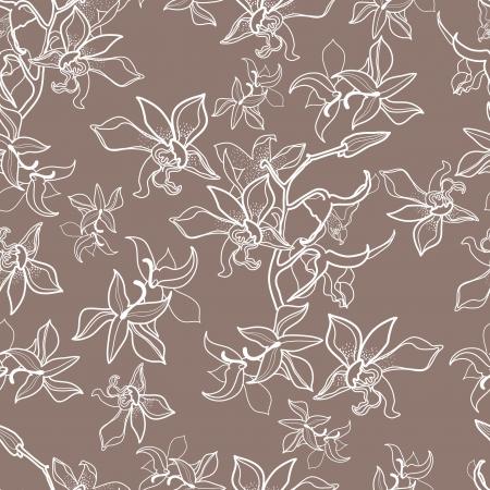 蘭の花を持つベクトル シームレスな花柄  イラスト・ベクター素材