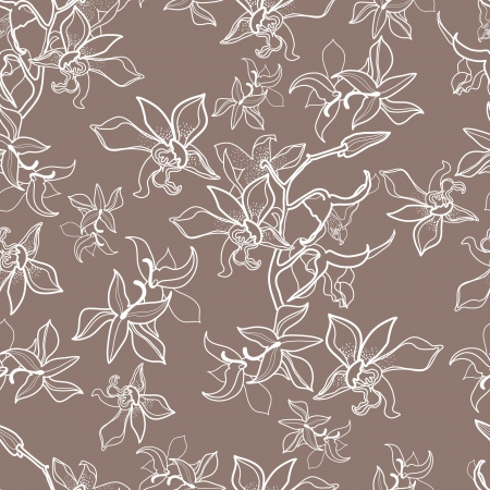 Vector seamless floral pattern with orchid flowers Illustration