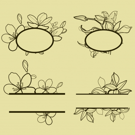 Vector set of round vintage frames with flowers Vector