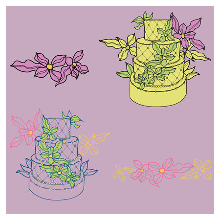 Design elements with two wedding cakes