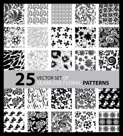 Vector set of seamless floral pattern with flowers and leafs Vector