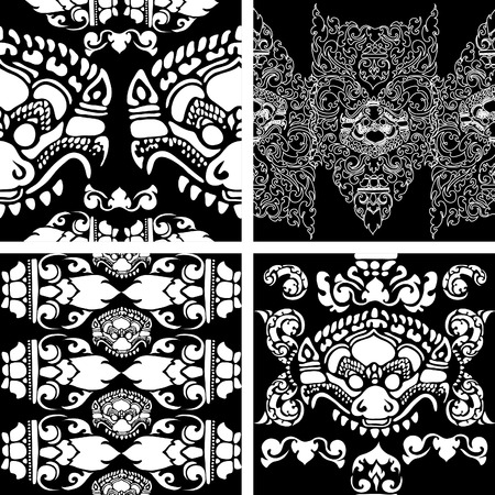 cambodia: Vector seamless black and white Cambodian floral pattern Illustration