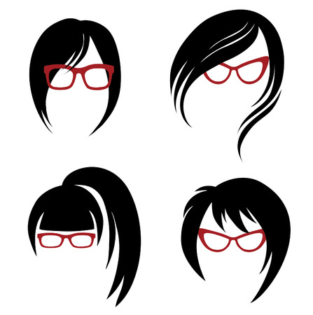 Vector set of trendy hair styling for woman (from my big \Hair styling series\)