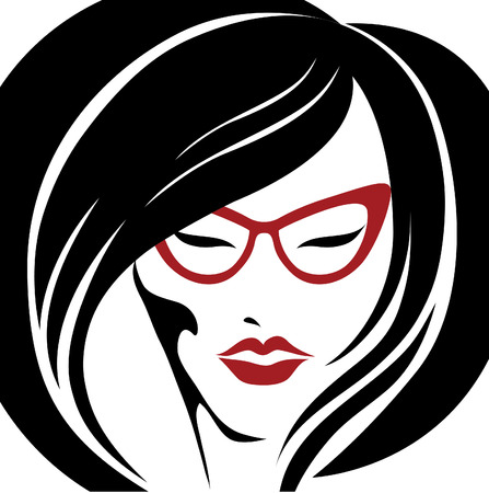 hair setting: Vector portrait of trendy hair styling for woman in glasses (from my big \Hair styling series\) Illustration