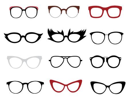 gafas: Vector conjunto de ilustraciones de gafas con estilo y divertidos Vectores
