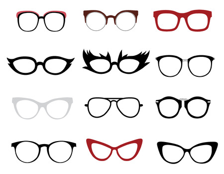 funny glasses: Vector set of illustrations of stylish and funny glasses