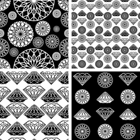 gemstone jewelry: Vector set of seamless pattern from diamond design elements