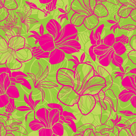 Vector seamless floral pattern with bright colorful flowers Illustration