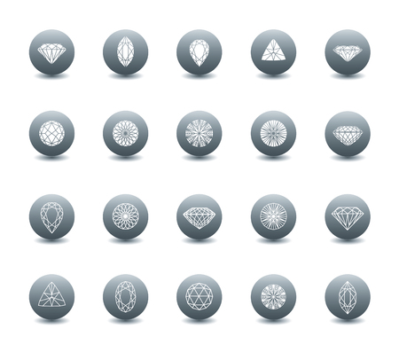 pictogramm: Vector set of diamond icons - cutting samples Illustration