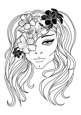 Vector portrait of woman with flower in long hair Illustration