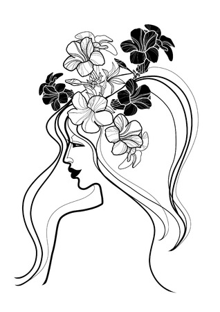amative: Vector portrait of woman with flower in long hair Illustration
