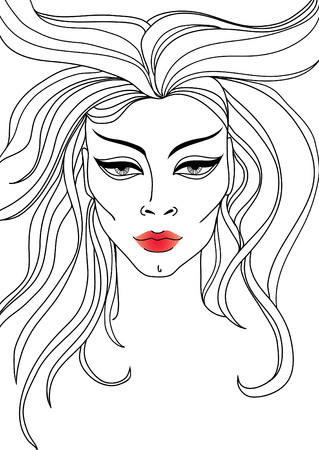 closeup portrait of woman with red lips and long hair Illustration