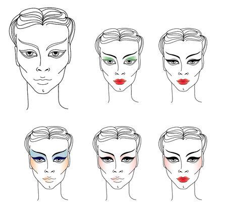 visagiste: set of illustrations of stylish woman faces  Illustration