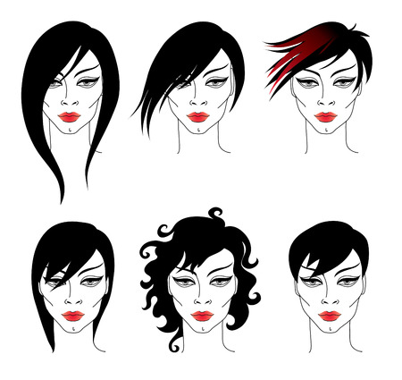hair setting: Vector set of trendy hair styling for woman Illustration