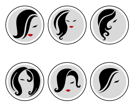 comb out: Set of vector icons - Fashion illustrations of trendy hairstyle for woman Illustration