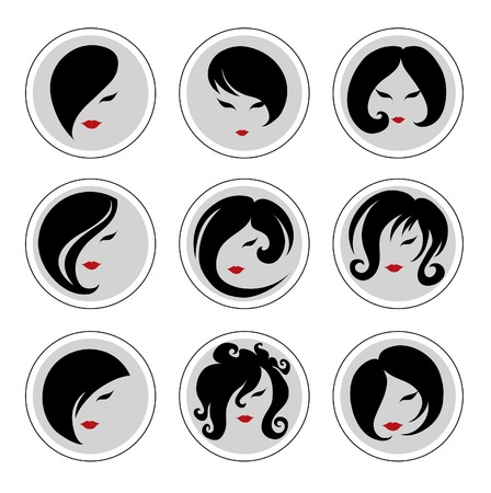 hair dressing: Set of vector icons - Fashion illustrations of trendy hairstyle for woman Illustration