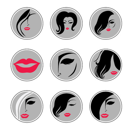 hair setting: Set of vector icons - Fashion illustrations of trendy hairstyle for woman Illustration