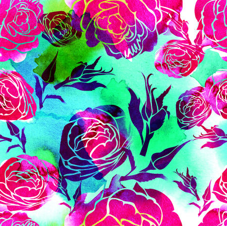 botanics: Seamless watercolor floral pattern with leafs and roses Stock Photo