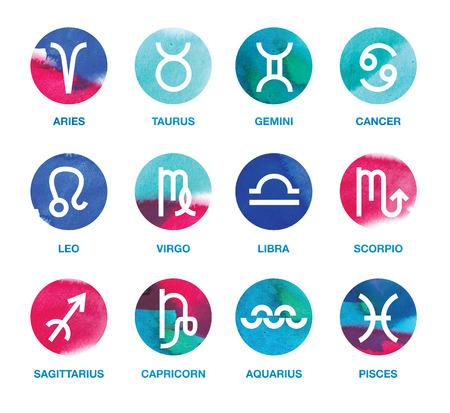 asterism: Set of zodiac icons - design element: Aries, Taurus, Gemini, Cancer, Leo, Virgo, Libra, Scorpio, Sagittarius, Capricorn, Aquarius, Pisces