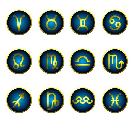 asterism: Set of gradient zodiac icons - design element: Aries, Taurus, Gemini, Cancer, Leo, Virgo, Libra, Scorpio, Sagittarius, Capricorn, Aquarius, Pisces