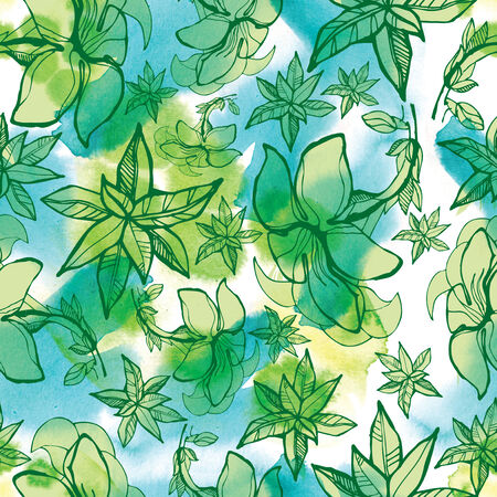 neon plant: Seamless watercolor floral pattern with leafs (From my big Seamless collection)