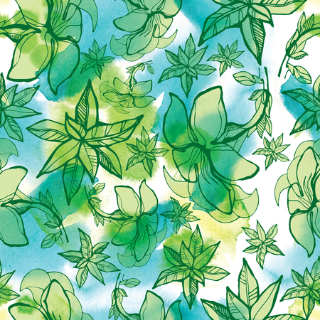 botanics: Seamless watercolor floral pattern with leafs (From my big Seamless collection)