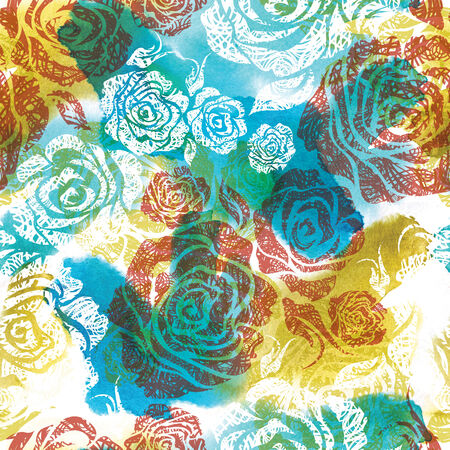 neon plant: Seamless watercolor floral pattern with hand drawn sketches (From my big Seamless collection) Stock Photo