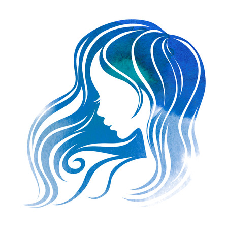 hair setting: Watrecolor sketch hair styling for woman (from my big Hair styling series) Stock Photo