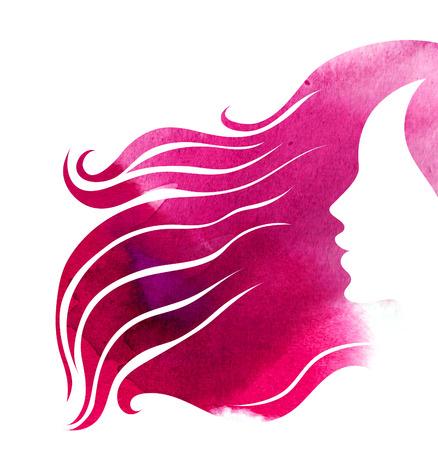 """vrouwen: Aquarel close-up schets onthaard voor vrouw (uit mijn grote """"Hair styling serie"""")"""