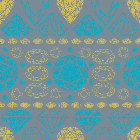 faceting: Vector seamless pattern from diamond design elements
