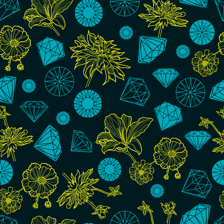 Vector seamless pattern from diamonds and flowers design elements Vector
