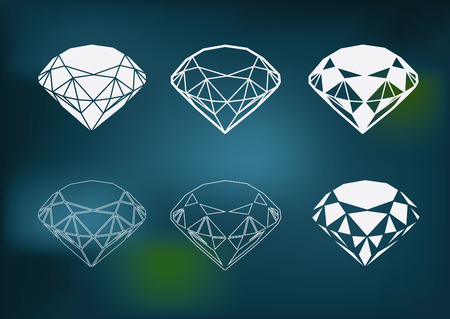 faceting: Vector set of diamond design elements - cutting samples Illustration