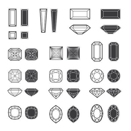ダイヤモンド デザイン要素 - 切削サンプルのベクトルを設定